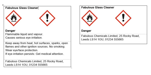 Labelling of a hazardous product, showing the reduction of information for small packages.